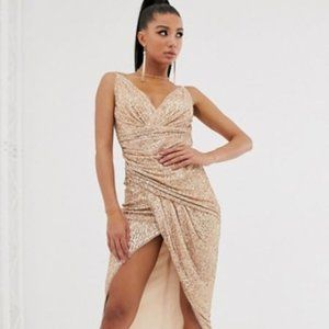 Rose gold sequined evening gown